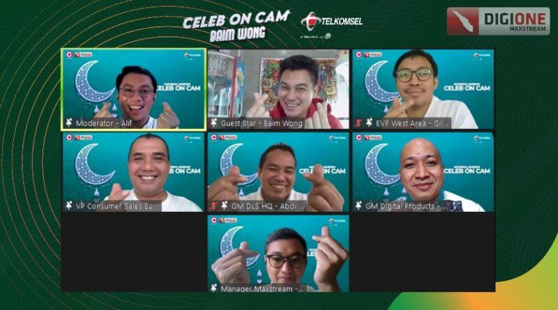 teks:IST- Celeb on Cam Ramadan_1-3 : Telkomsel kembali gelar Celeb on Cam edisi Ramadan, ngobrol seru dan inspiratif bareng Baim Wong sebagai salah satu kreator konten sukses di Indonesia. Kegiatan dilakukan secara virtual, dan dapat dinikmati oleh masyarakat luas pada aplikasi MAXstream di Channel DigiONE.