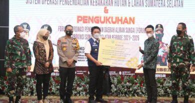 teks:IST- Kapolda Sumsel hadiri Launching Aplikasi Songket, Pendeteksi Karhutla